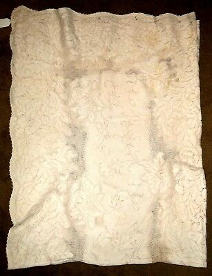 Antique ECRU FLORAL  FILET LACE BANQUET TABLECLOTH From NEW ORLEANS ESTATE 80x60