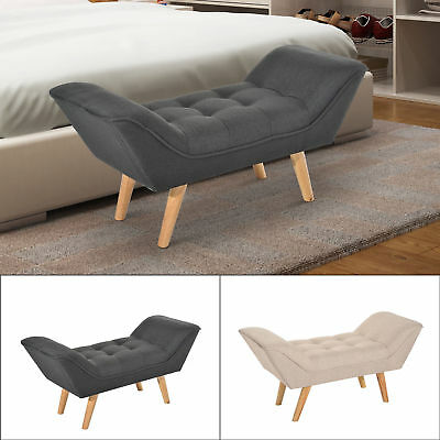Chaise Longue End Bed Seat Sofa Bench Retro Linen Fabric Mordern