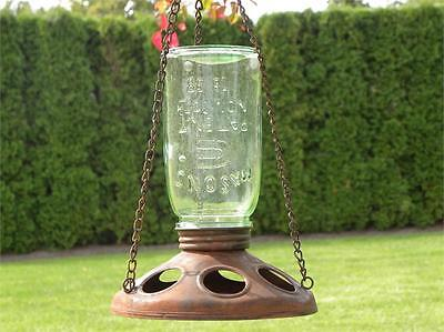 New Primitive Rustic Country Mason Canning Jar Hanging Bird Feeder