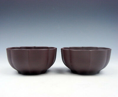 Pair YiXing Zisha Clay Hand Crafted Flower Petal Shaped Tea Cups #06271607