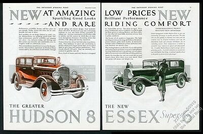 1931 Hudson 8 Essex Super 6 car color art BIG vintage print ad