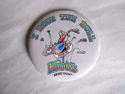 Vintage Knott's Berry Farm I Rode the Bull Attraction Souvenir Pinback Button