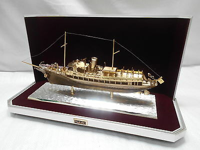 "Vintage ""NATALIE"" REPLICA BOAT Ornament Nautical Statue in case from Japan #30"