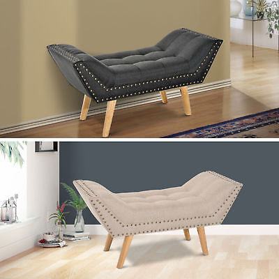 Retro Style Chaise Lounge Sofa Bench Ottoman Side Couch Cream Linen Fabric Soft