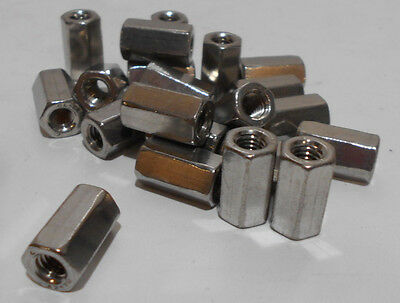 Lot Of 20  M6 - 1.0 Stainless Steel Hex Nut Thread Standoff Spacers