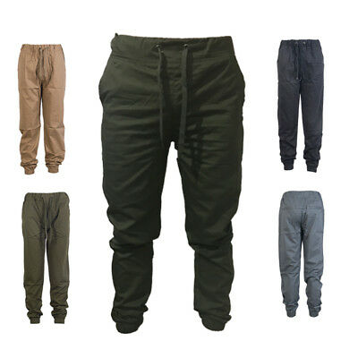 Men's Twill Jogger Pants Urban Hip Hop Harem Casual Trousers Slim Fit Elastic KN