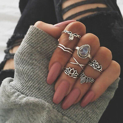 7Pcs/Set Vintage Bohemian Rings Set Gemstone Knuckle Rings Midi Rings Jewelry
