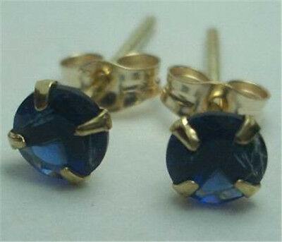 9K Solid Yellow Gold Round Sapphire Solitaire Studs Earrings