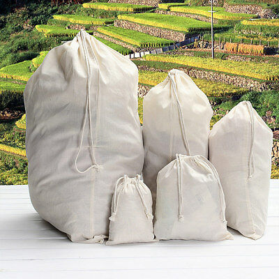 Natural Cotton Drawstring Storage Laundry Tidy Favor Sack Plain Travel Stuff Bag