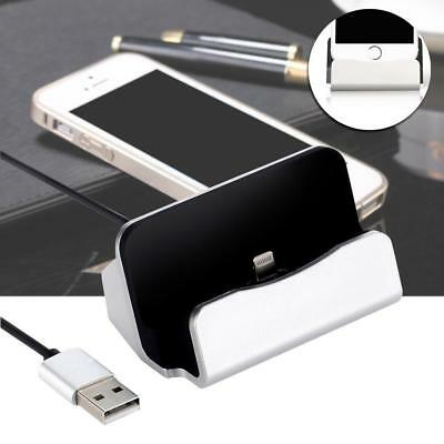 Silver Charger Docking Station Sync Charger Stand Cradle for iPhone 5/5S/6s B1