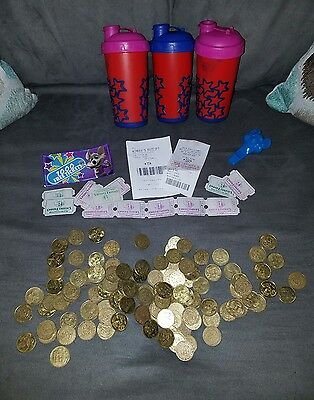 Chuck E Cheeses Lot of 129 coins, over 1000 tickets and 3 vintage reusable cups