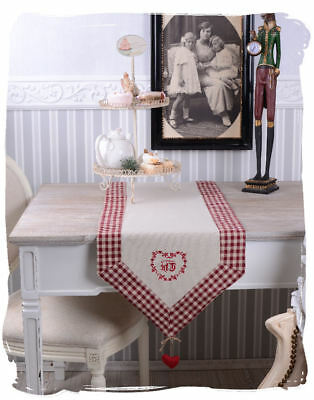 Tablecloth Country House Style Table Runner Monogram Embroidery