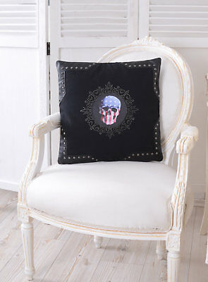 Cushion Skull Decorative Cushion Skull Rhinestone Leather Look Sofa Cushion