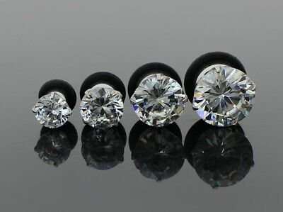 Large Simulated Diamond Silver Surgical Steel Screw Flesh Tunnel Ear Plug Spacer