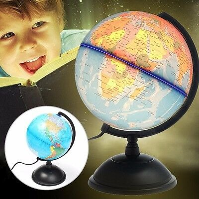 32cm LED World Globe Earth Atlas Map Rotating Stand Geography Educational Toy AU