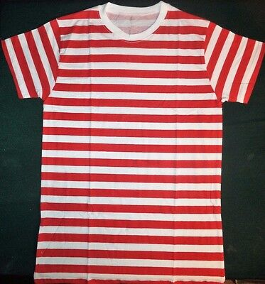 Wheres Wally Red And White Striped T-Shirt Fancy Dress Outfit Costume Size Small