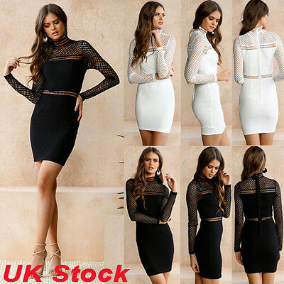 Womens Long Sleeve Hollow Lace Bodycon Party Dress Ladies Evening Cocktail Mini