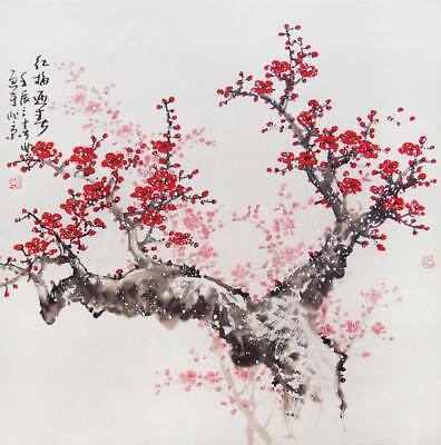 """Chinese Cherry Blossom Art ~  A4 CANVAS PRINT poster  8""""X 12"""""""