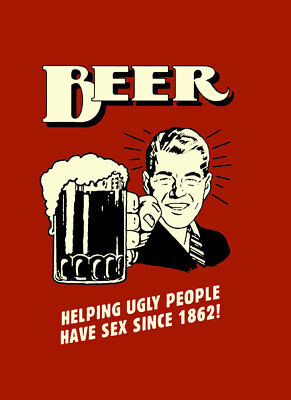 """BEER Helping Ugly people A2 CANVAS PRINT Poster  RED 16""""X 24"""""""