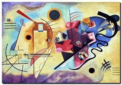 """WASSILY KANDINSKY A4 CANVAS PRINT poster 8""""X 12"""" red yellow blue"""