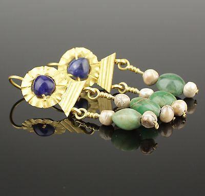 Ancient Roman Gold Sapphire & Emerald Earrings - Circa 2Nd C Ad