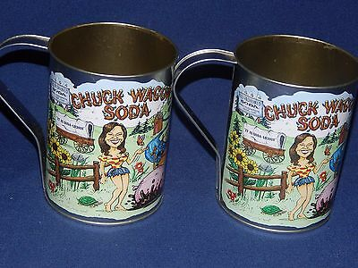 "2 New Chuck Wagon Soda Tin Mugs - Western Redneck Hillbilly Decore Graphics 5""t"