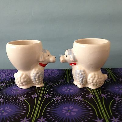 2 Vintage Poodle Egg Cups - Kitsch - 1960s - Mid Century