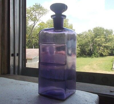 """1894 Dated Amethyst Apothecary Drugstore Bottle 10"""" W/original Ground Stopper"""