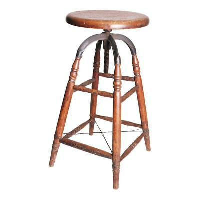 Vintage Industrial SWIVEL STOOL wood bar drafting cast iron adjustable antique