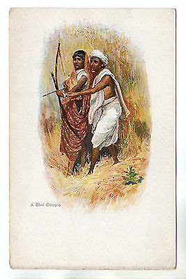 A Bhil Couple - India Art Postcard c1910 / Archery