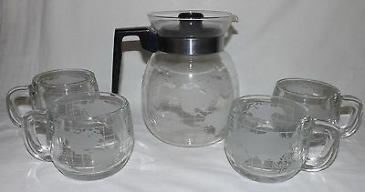 Vintage Nescafe Frosted World Globe Coffee Pot Carafe & 4 Mugs Cups