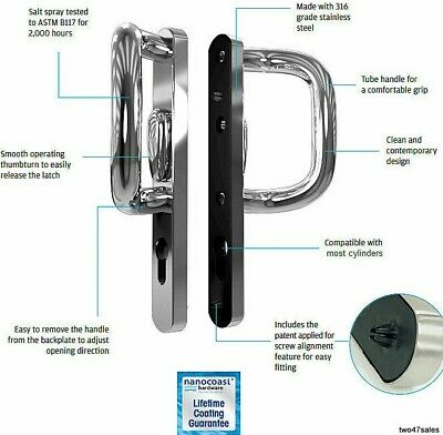Stainless Steel Patio Door P Handle sliding lock Chrome Satin Polished upvc set