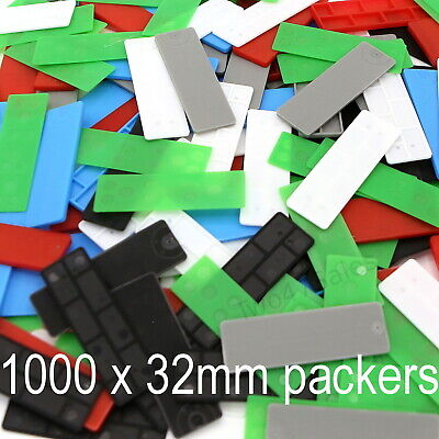 1000 x 32mm Mixed Glazing Packers Spacers Window Shim Kitchen Flat Double Glass