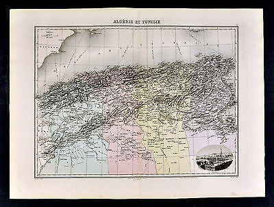 1880 Lacoste Map  North Africa  Algeria Alger Tunisia Tunis Oran - Barbary Coast