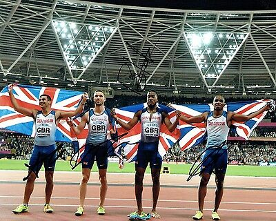 Team GB SIGNED 2017 Olympic 4x100m Relay Gold Medal Photo 1 AFTAL Autograph COA