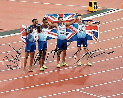 Team GB SIGNED 2017 Olympic 4x100m Relay Gold Medal Photo 2 AFTAL Autograph COA