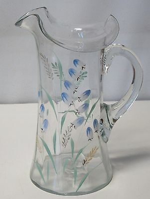 Antique Pitcher Blown Ruffled Handpainted Glass Lily Of The Valley Design