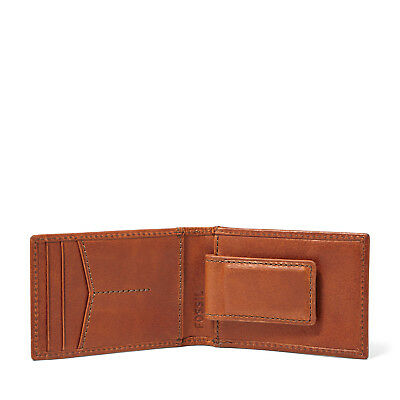 Fossil Conner Leather Slim Money Clip Bifold Wallet Thin Magnetic Card Case