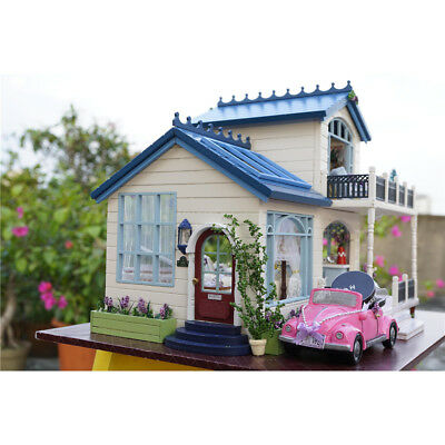 Wooden Balcony Doll House Dollhouse With Furniture DIY Handcraft Miniature Gift