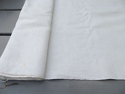 "Antique  Handwoven White Of Cream Handwoven Linen Fabric 24 "" by 4 Yards"