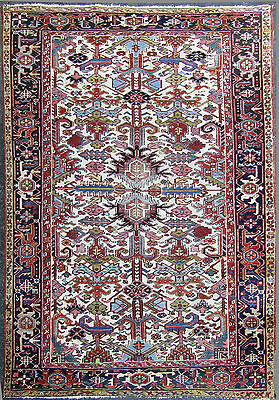 ANTIQUE HAND MADE HERIZ RUG RARE WHITE FIELD, PERSIAN, ORIENTAL, 6' by 9'