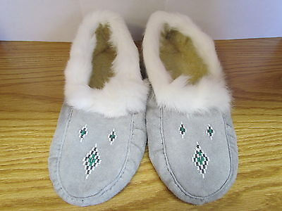 Beaded Moccasins, Grey Moose Leather, White Rabbit Fur, Size 10, 11 Inches Long