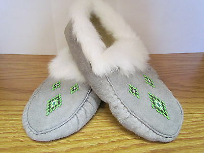 Beaded Moccasins, Grey Moose Leather, White Rabbit Fur, Size 8, 10.5 Inches Long