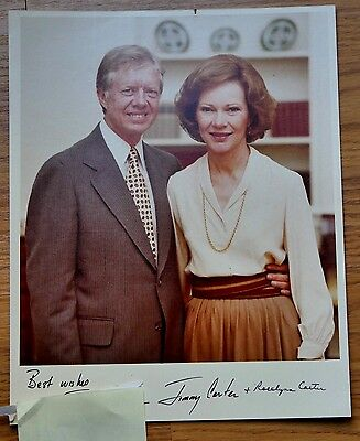 PRESIDENT JIMMY CARTER & ROSALYN SIGNED AUTOGRAPHED PHOTO 8x10 FULL SIGNATURE