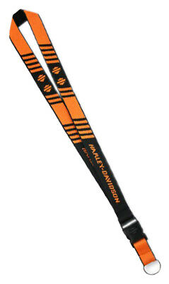 Harley-Davidson H-D Break Striped Bar & Shield Lanyard, Orange & Black LY25766