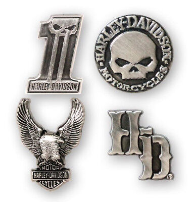 Harley-Davidson Dark Custom 3D Die Cast Magnet Set, Set of 4, Silver DM25230