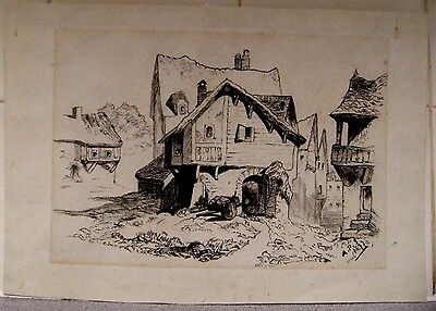 1877 charcoal drawing, Rustic Houses, signed A.P.S. (Stewart)