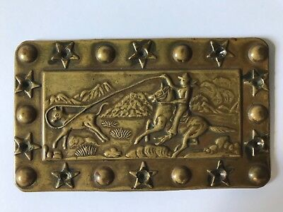 Vintage Western Americana Cowboy Brass Hat Cover Plate