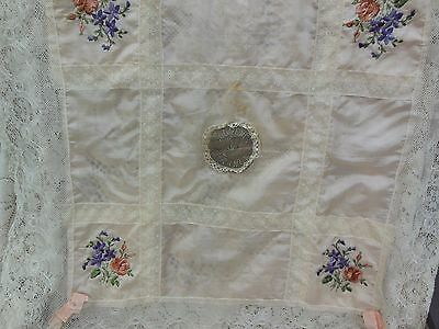 Antique French Embroidered Silk & Lace Pillow Top