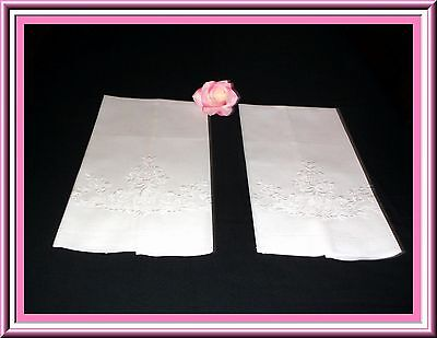 Pair Antique Whitework Embroidered Towels With Punchwork Unused